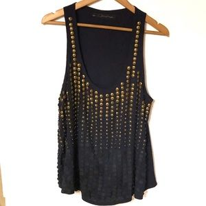 Patterson Kincaid Navy Gold Embellished Top
